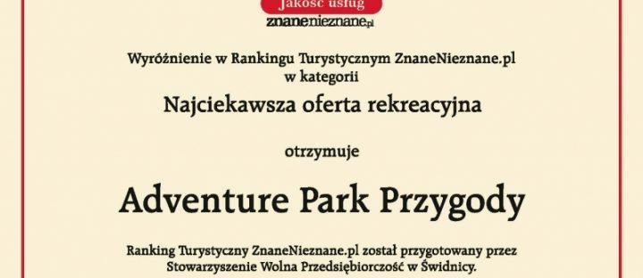 Wyróżnienie w rankingu turystycznym dla Adventure Park Przygody